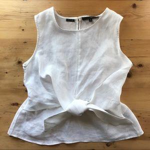 Harve' Benard M white 100% linen tie front blouse